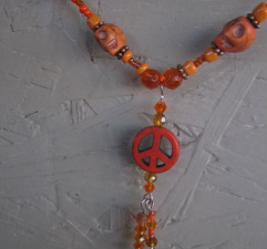 skull and peace sign necklace Peace and quiet howlite skull necklace
