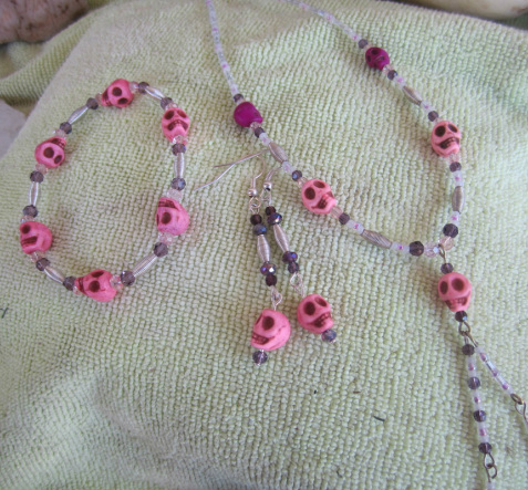 skull jewelry set unique pink howlite skull 3 piece gift set