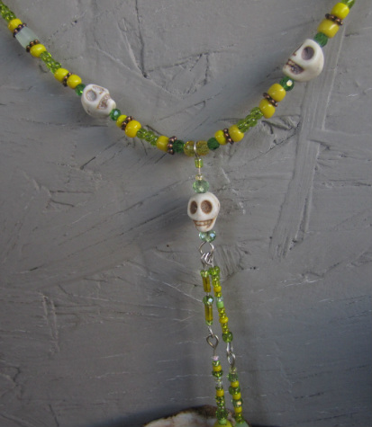 skull necklace handmade white howlite skull necklace