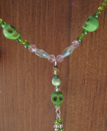 skull necklace handmade Howlite skull necklace tiny green skulls with pink accents