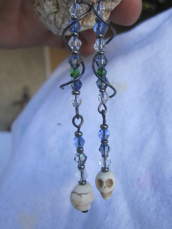 skull earrings howlite skull long dangle earrings