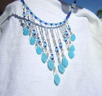 Sky blue handcrafted crystal choker